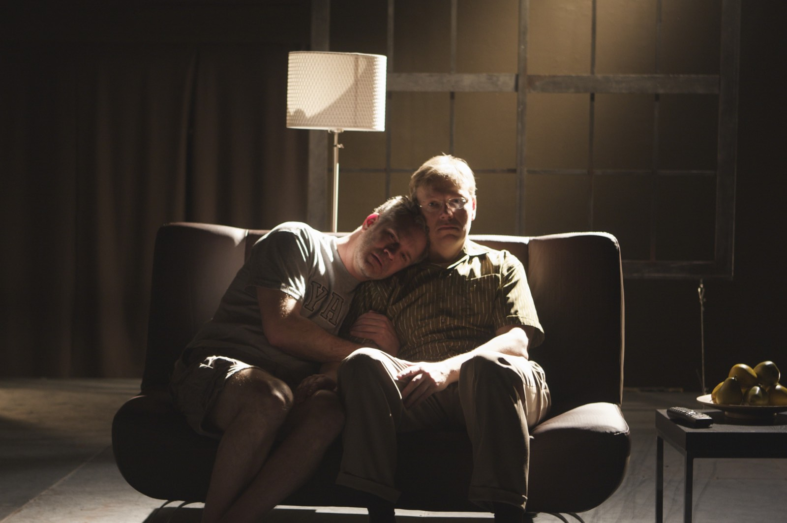 DADDY - Gerald McCullouch and Dan Via<br>Set by Eugenia Furneaux, Lighting by Zak Al-Alami, Costumes by Michele Reisch - photo by Eduardo Placer