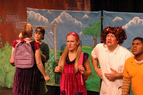 DAISY IN DISGUISE - Bethany James as Holly, Angie Perez as Daisy, Stephanie Torns as Molly, Ross Hewitt as the Nurse, and Norman Payne as Oscar<br>Costumes by Elisabeth Vastola and Set by David Geinosky