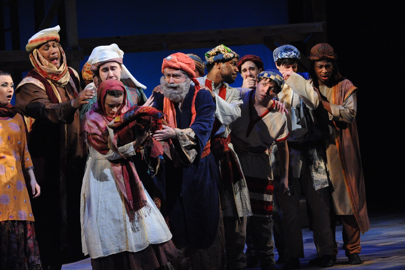 JOSEPH AND THE AMAZING TECHNICOLOR DREAMCOAT - MaryLee Adams, Stephawn Stephens, Nick Lehan, Erin Driscoll, R. Scott Williams as Jacob, Mardee Bennett, Ben Lurye, Andrew Sonntag, Parker Drown, L.C. Harden, Jr.<br>Set design by Eugenia Furneaux, Lighting by Dan Covey, Costumes by Ivania Stack - photo by Stan Barouh