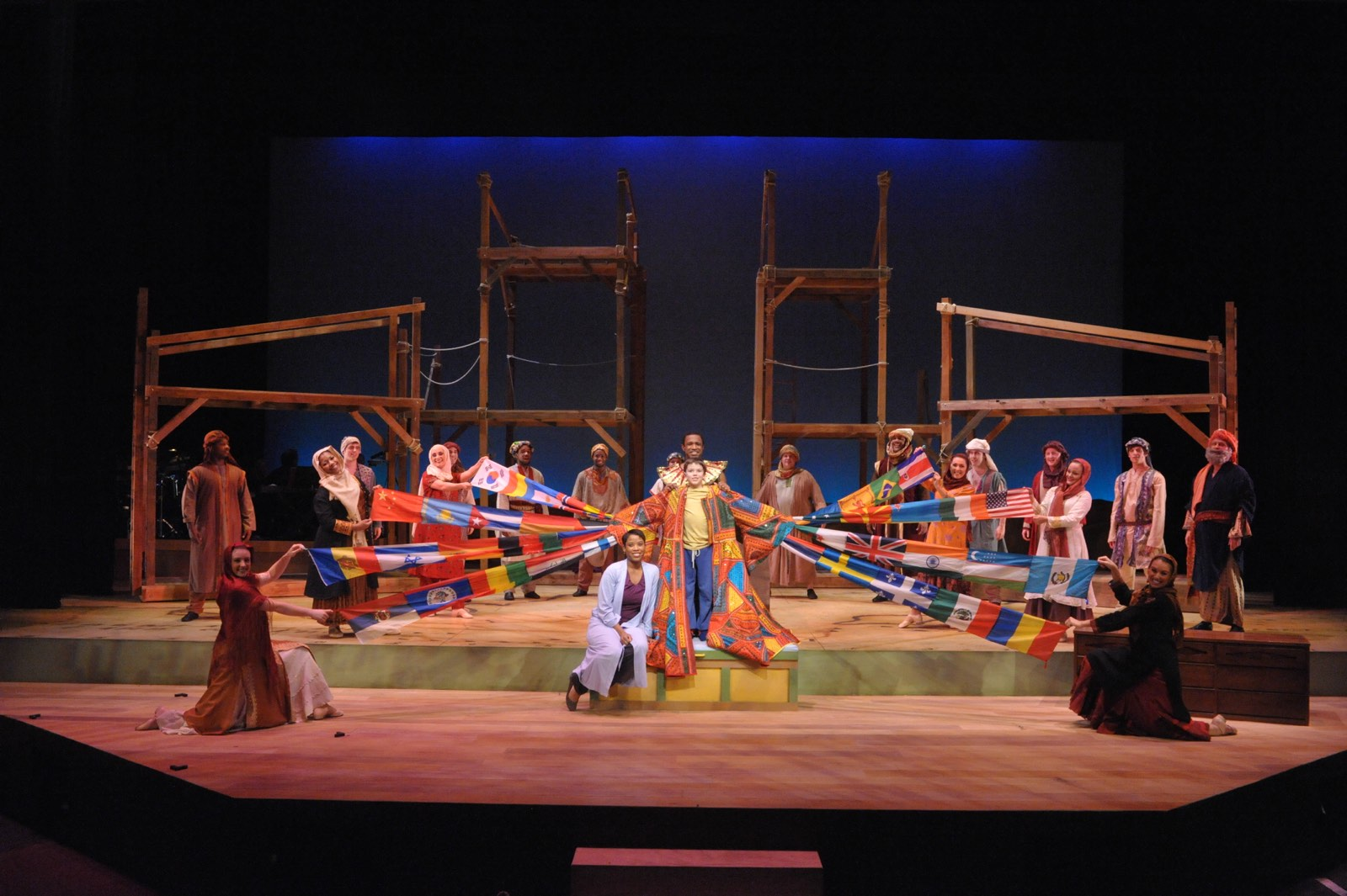 JOSEPH AND THE AMAZING TECHNICOLOR DREAMCOAT - The company<br>Set design by Eugenia Furneaux, Lighting by Dan Covey, Costumes by Ivania Stack - photo by Stan Barouh